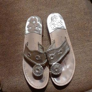 Jack Rogers Light Gold Thong Flip Flops Sandals